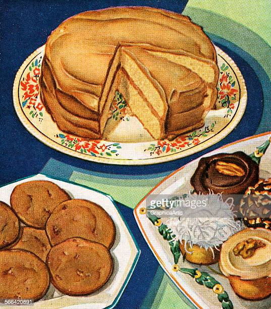 Vintage illustration of a layer cake displayed with cookies and cupcakes screen print 1936