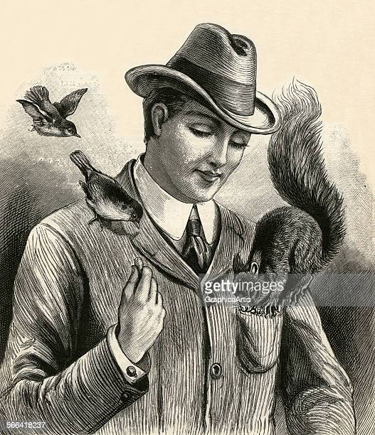 Vintage illustration of a man feeding peanuts to a squirrel and birds sitting on his shoulders engraving 1904