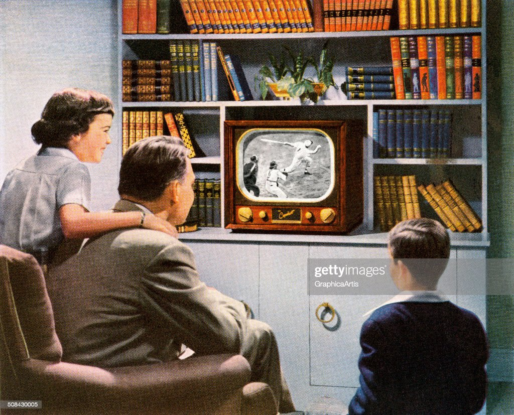 Vintage illustration of a 'modern' family watching a baseball game on their brand-new television, 1950. Screen print.