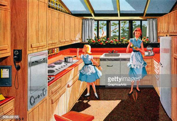 Vintage illustration of a mother and daughter in their new modern kitchen 1955 Screen print