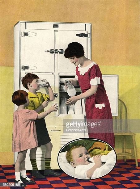 Vintage illustration of a mother serving milk to her children from an open refrigerator 1925