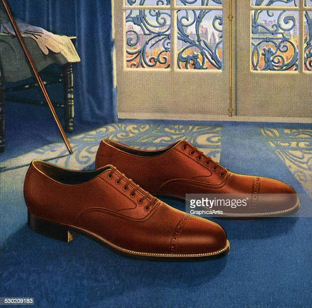 Vintage illustration of a new pair of men's shoes sitting in a gentleman's bedroom 1925