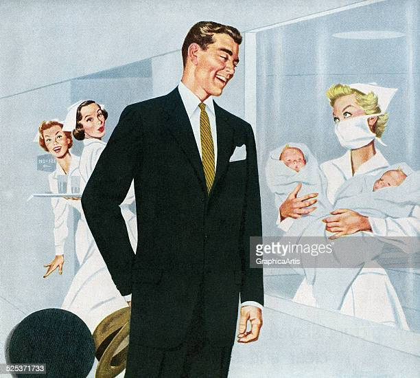 Vintage illustration of a proud father being shown his newborn twins by a nurse at the hospital maternity ward screen print 1952