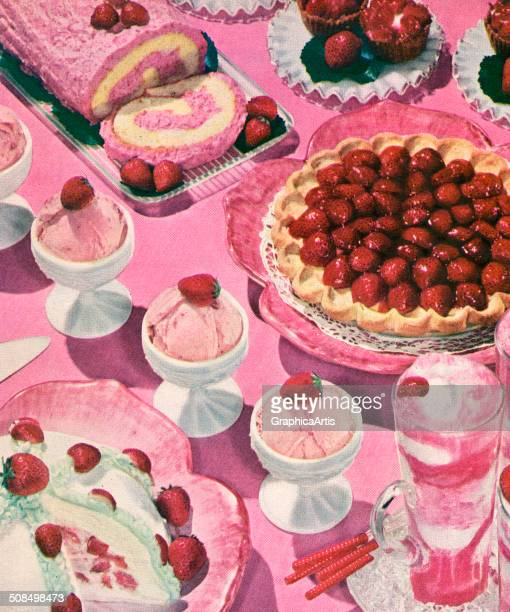 Vintage illustration of a variety of strawberry desserts including strawberry cream pie strawberry milkshake strawberry ice cream strawberry pie and...