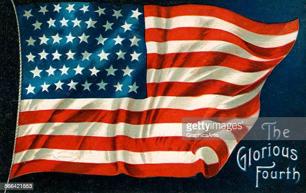Vintage illustration of a waving American flag on the Fourth of July chromolithograph 1926
