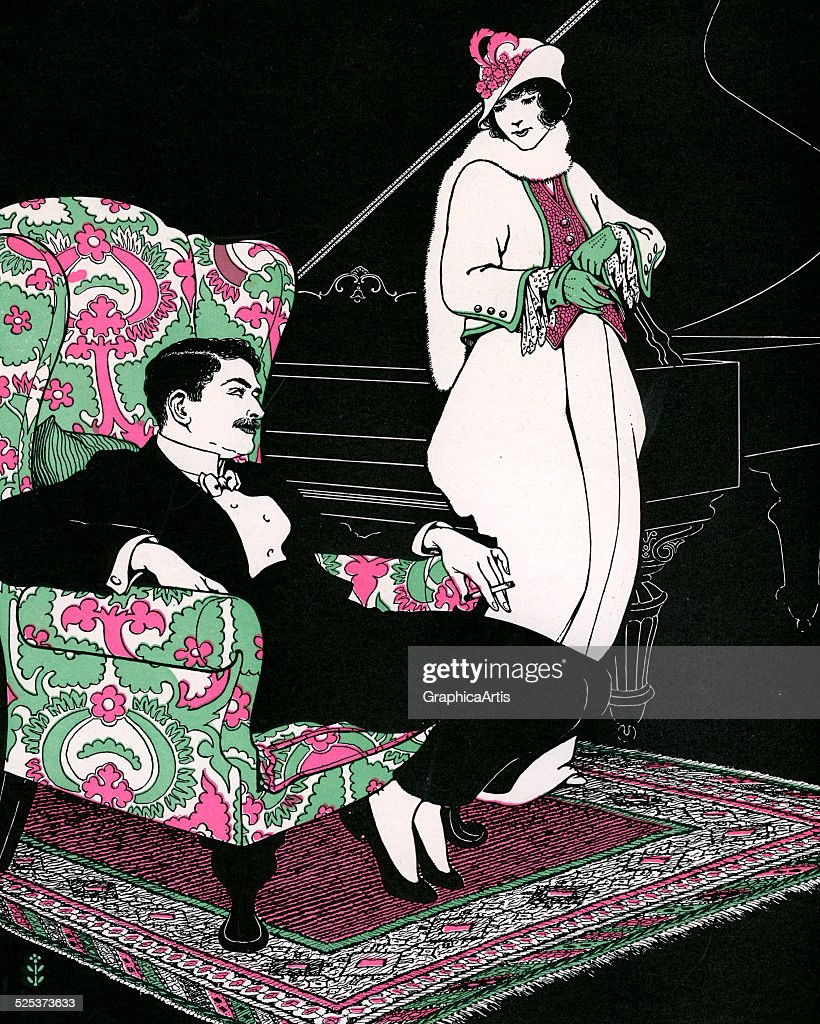 Vintage illustration of a wealthy couple in their living room ready to leave for a night on the town lithograph 1911