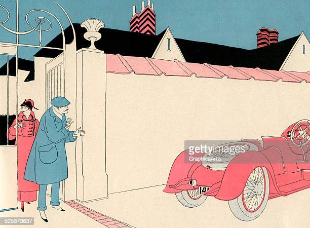 Vintage illustration of a wealthy couple outside their walled mansion waiting for their car lithograph 1912