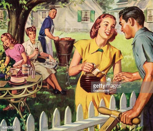 Vintage illustration of a woman offering iced tea to a neighbor mowing his lawn during a backyard barbeque 1948 Screen print