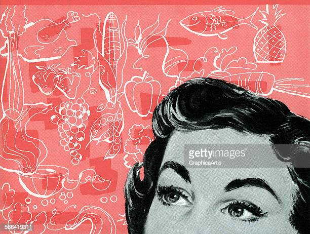 Vintage illustration of a woman trying to decide what to cook for dinner screen print 1953