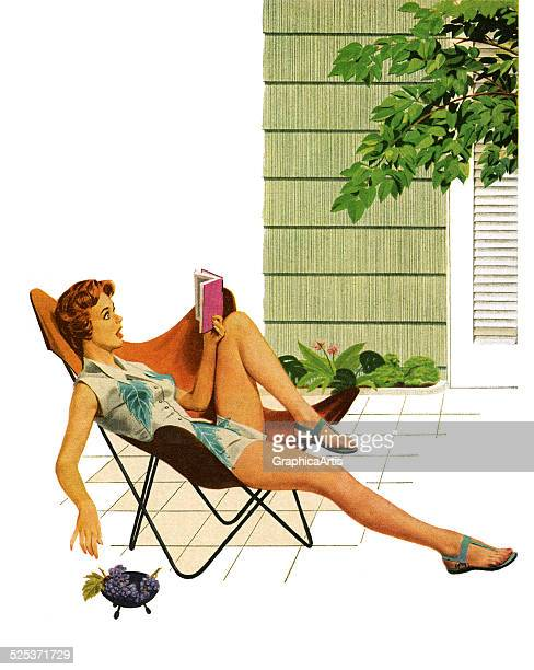 Vintage illustration of a young woman lounging on a chair outdoors reading a racy novel screen print 1954