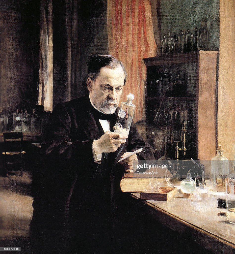 Vintage illustration of <a gi-track='captionPersonalityLinkClicked' href=/galleries/search?phrase=Alfred+Nobel&family=editorial&specificpeople=584637 ng-click='$event.stopPropagation()'>Alfred Nobel</a> in his laboratory, working on an experiment; screen print, circa 1930.