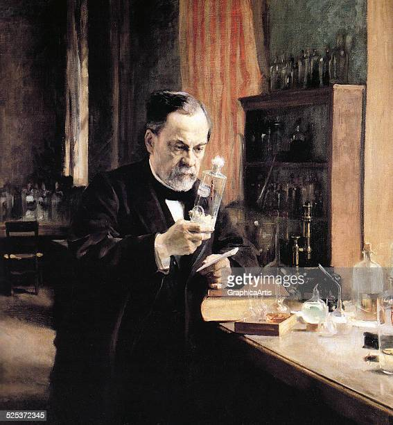 Vintage illustration of Alfred Nobel in his laboratory working on an experiment screen print circa 1930