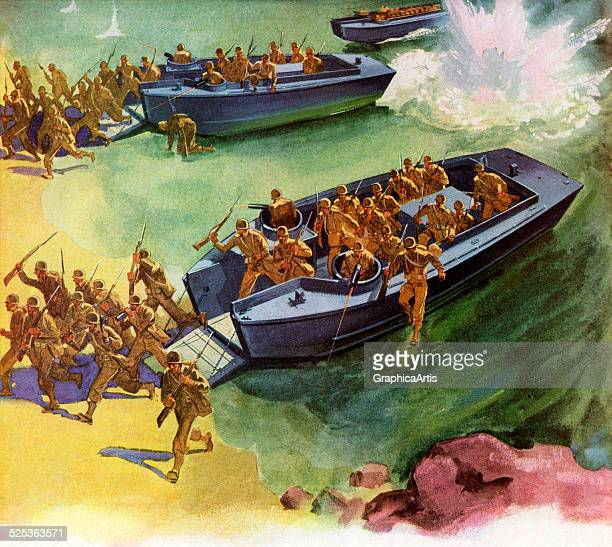 Vintage illustration of American troops landing at Omaha Beach in Normandy France during World War II screen print 1944