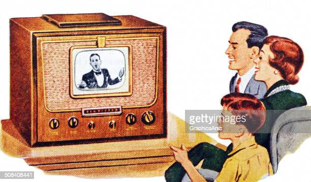 Vintage illustration of an American family watching a program on a television set late 1940s Screen print
