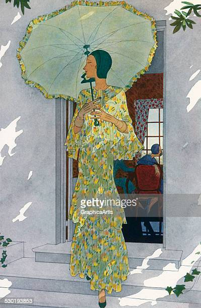 Vintage illustration of an elegantly dressed woman coming outside holding a parasol in the bright sunshine 1931