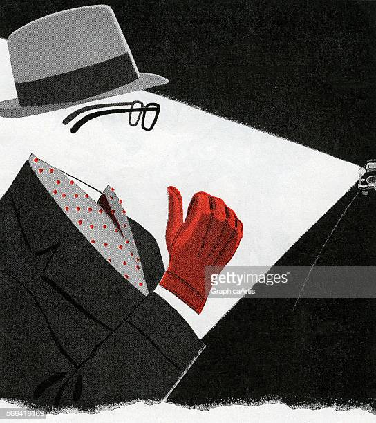 Vintage illustration of an invisible man hitchhiking at night screen print 1954