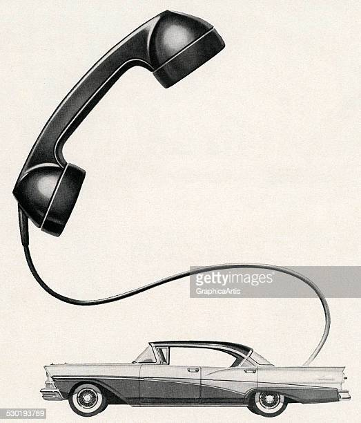 Vintage illustration of an oversize telephone receiver attached to a 1950s car an early depiction of a car phone 1956