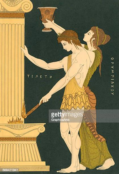 Vintage illustration of Ancient Greeks lighting the first Olympic Torch in Athens lithograph 1922