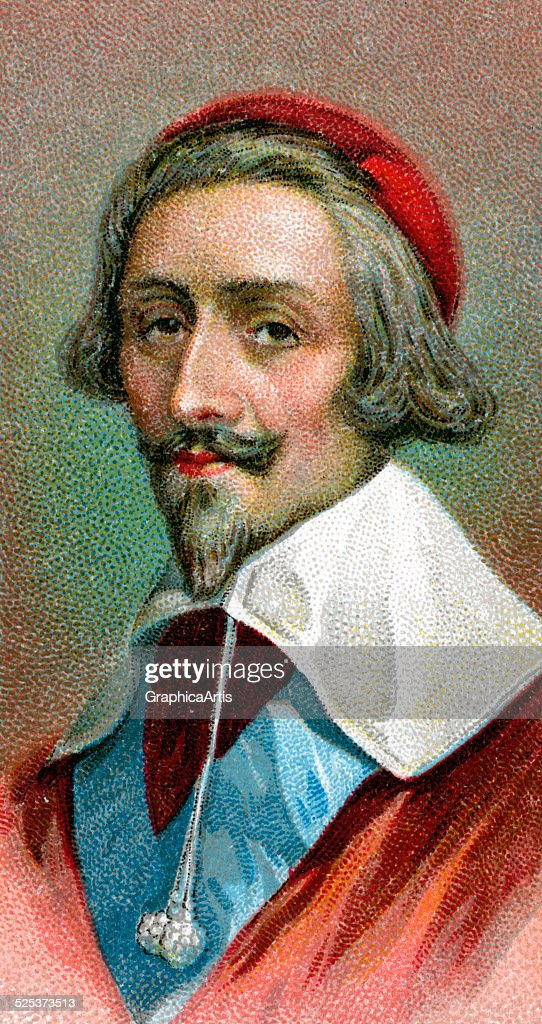 Vintage illustration of <a gi-track='captionPersonalityLinkClicked' href=/galleries/search?phrase=Cardinal+Richelieu&family=editorial&specificpeople=988311 ng-click='$event.stopPropagation()'>Cardinal Richelieu</a>; chromolithograph, 1923.