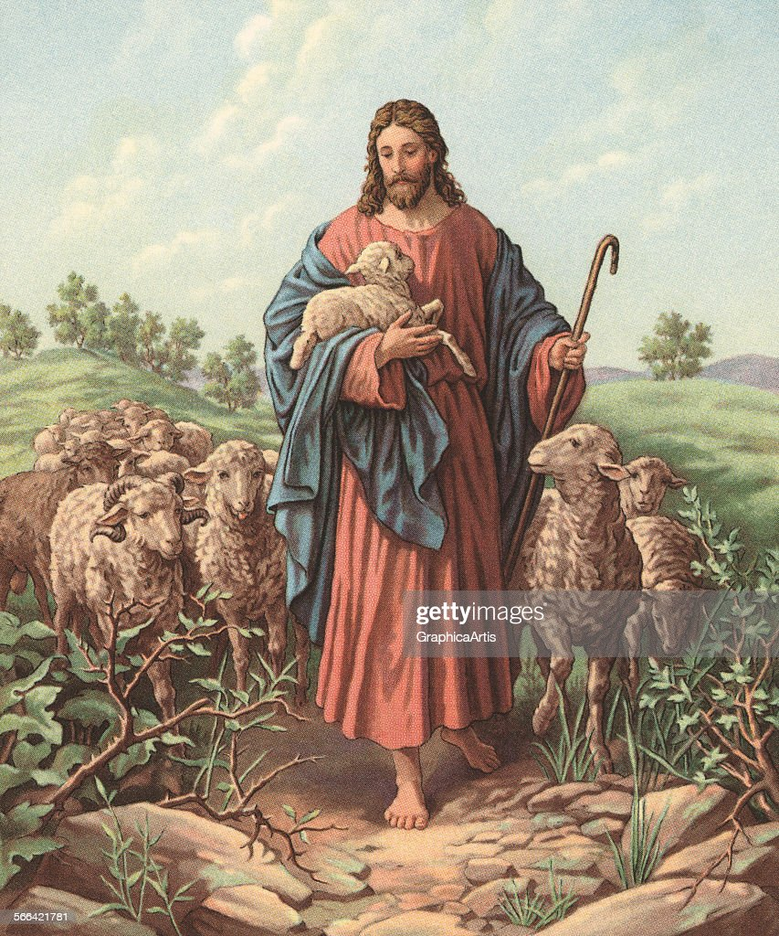Vintage illustration of Christ as the Good Shepherd; chromolithograph, 1929.
