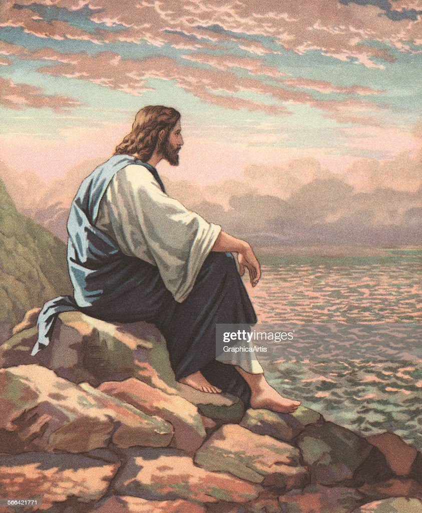 Vintage illustration of Christ by the Sea; chromolithograph, 1929.