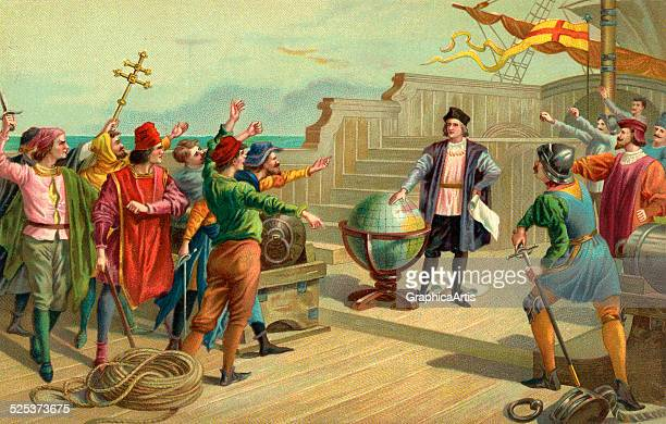Vintage illustration of Christopher Columbus on the deck of the Santa Maria in 1492 chromolithograph 1904