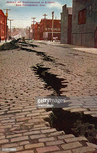 Vintage illustration of cracked street from 1906 San Francisco earthquake screen print 1907