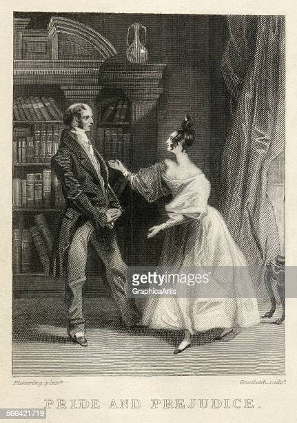 Vintage illustration of Elizabeth Bennet dancing with her father from Jane Austen's Pride and Prejudice engraving 1833