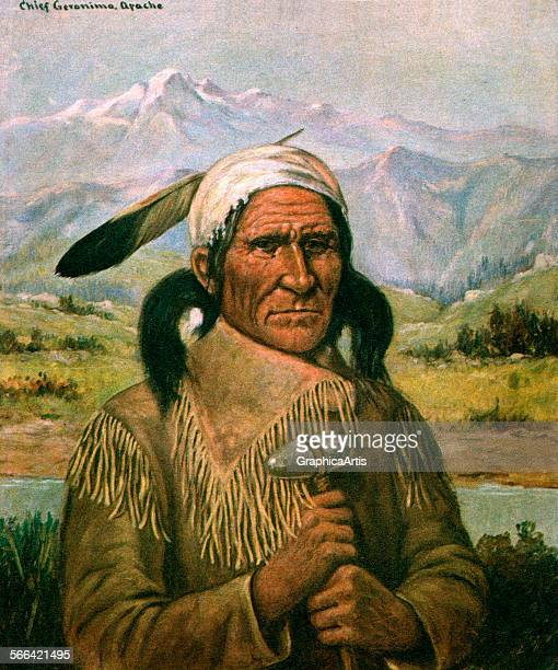 Vintage illustration of Geronimo lithograph 1907