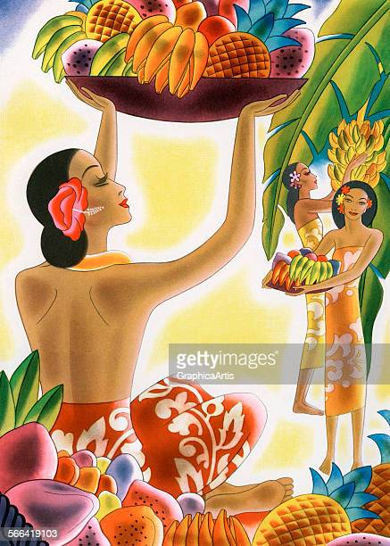 Vintage illustration of Hawaiian women harvesting tropical fruit from a menu design lithograph 1947