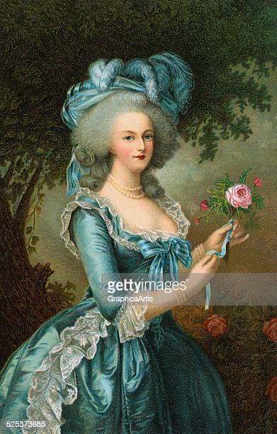 Vintage Illustration of Marie Antoinette with a rose after the painting by Elisabeth VigeeLebrun chromolithograph 1906