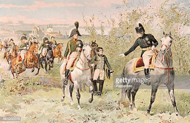 A vintage illustration of Napoleon Bonaparte and Alexander I at Erfurt circa 1806