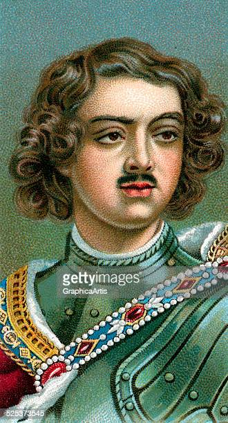 Vintage illustration of Peter the Great chromolithograph 1923