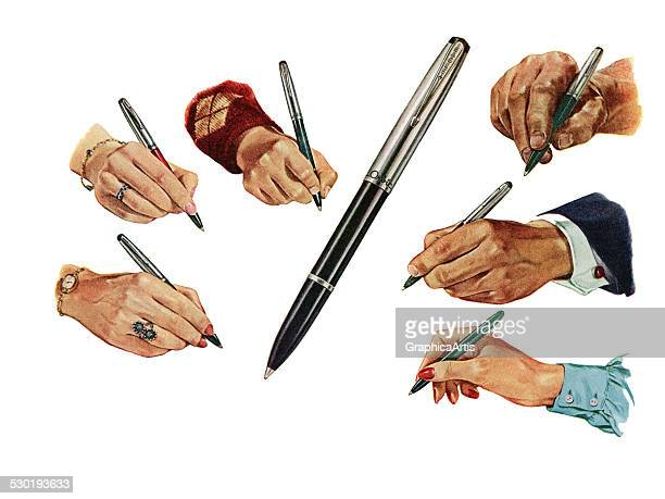 Vintage illustration of six hands holding pens 1946