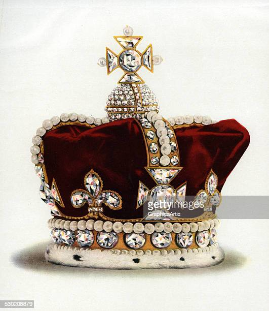 Vintage illustration of the Crown of Queen Mary of Modena Consort of James II part of the Crown Jewels of England 1919