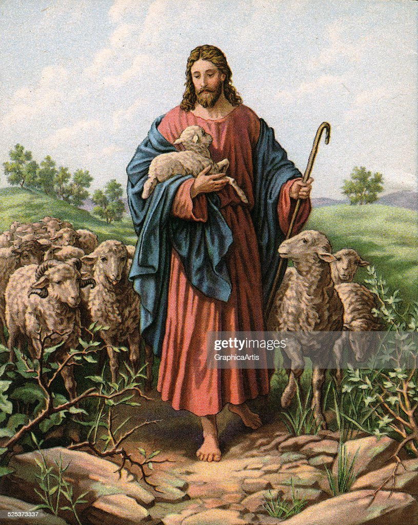 Vintage illustration of The Good Shepherd with Jesus holding a lamb; lithograph, 1930s.