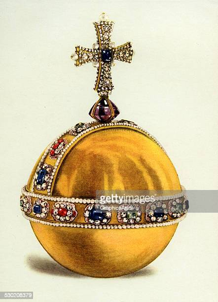 Vintage illustration of the King's Orb part of the Crown Jewels of England 1919