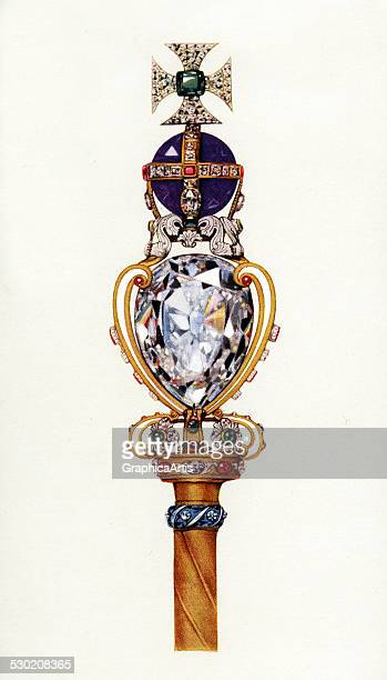 Vintage illustration of the King's Royal Scepter part of the Crown Jewels of England 1919 The sceptre features Cullinan I known as the Great Star of...