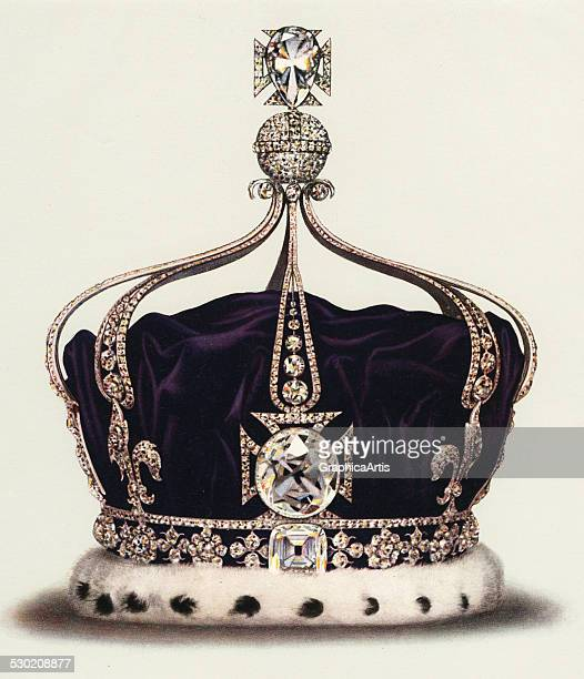 Vintage illustration of the State Crown of Queen Mary Consort of George V part of the Crown Jewels of England 1919 The crown contains 2200 diamonds...