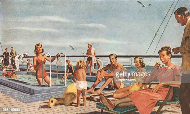 Vintage illustration of tourists playing in a pool and sunbathing on the lido deck of a cruise ship screen print 1949