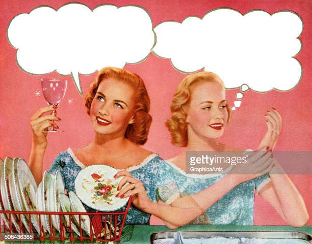 Vintage illustration of two happy 1950s housewives washing dishes by hand with thought bubbles over their heads 1952