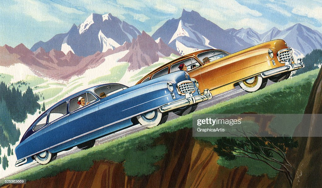 Vintage illustration of two sedans racing each other up a steep mountain road lithograph 1950