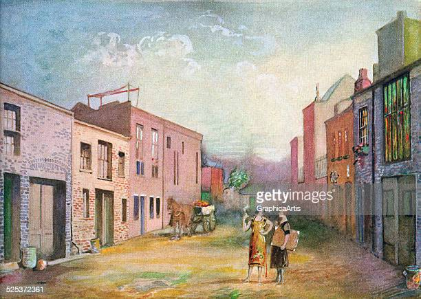 Vintage illustration of two women in the artists' colony in Macdougall Alley in the historic district of Greenwich Village in Manhattan screen print...