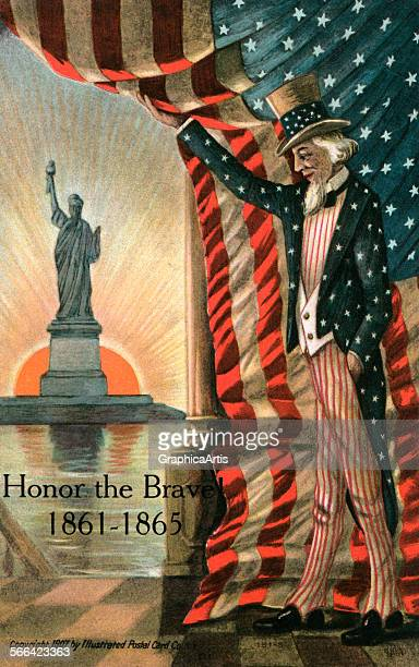 Vintage illustration of Uncle Sam pulling back an American flag to reveal a view of the Statue of Liberty and the setting sun chromolithograph 1907