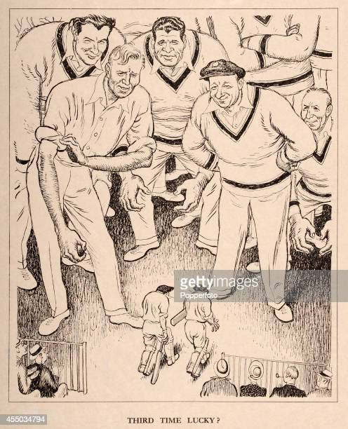 A vintage illustration published in 'Punch' magazine in London featuring two England batsmen taking to the field at Old Trafford confronted by an...