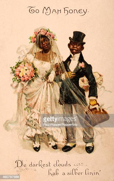 A vintage illustration showing a newly married black couple circa 1910