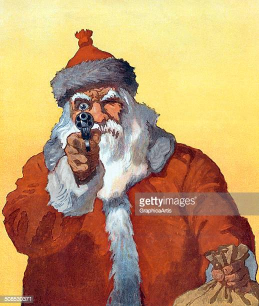 Vintage illustration titled 'Hands Up' depicting Santa Claus pointing a handgun at the viewer 1912 Screen print