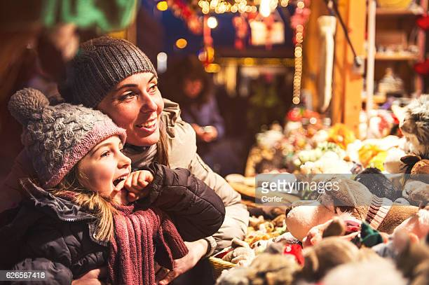 Vintage image - Childfriendly at christmas at christmas market - retro look