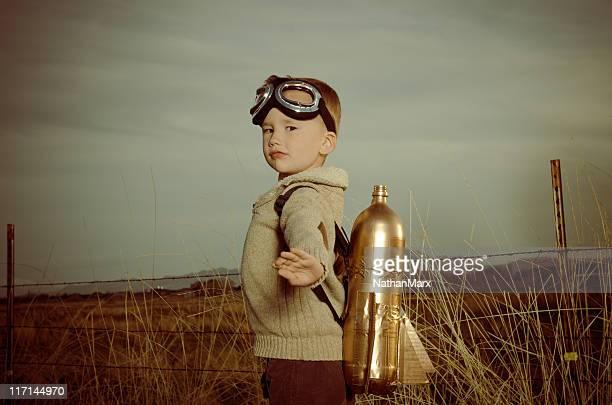 Vintage image of a child wearing jet pack