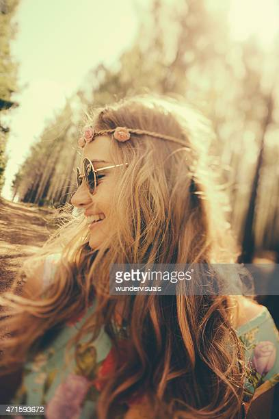 Vintage image of a girl in boho fashion